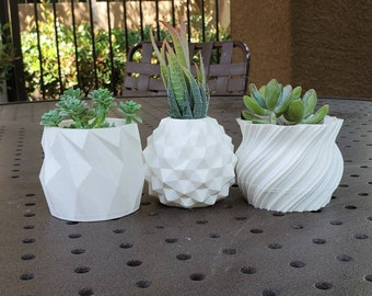 Set of 3 - Modern succulent pot, Geometric Modern Planter, Minimalist 3D printed Indoor Succulent Pot, Pen Pot, Office Gift,3D Printed pot
