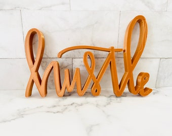 Hustle Sign Wall Decor   Self Standing Letter   Unique Desk Office Decor   Home Decor Letter   Letter Decor For Table