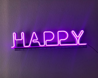 Neon Sign Bedroom, Led neon light, Happy Stand Letter, Game Room Decor, Cool War Decor, Cheap Neon Sign Custom, Led Sign