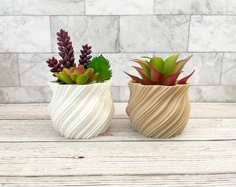 Geometric Planter, 3D Printed Modern Planter, Orchid Pot , Twisted Mandala, Succulent Pot with Drainage
