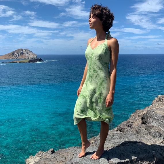 Vintage Hawaiian Moon Halter Dress