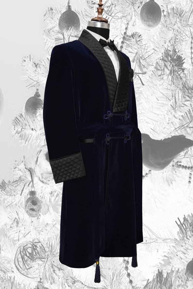 Mens Blue Velvet Long Smoking Jackets Roben Kleid Jacke | Etsy