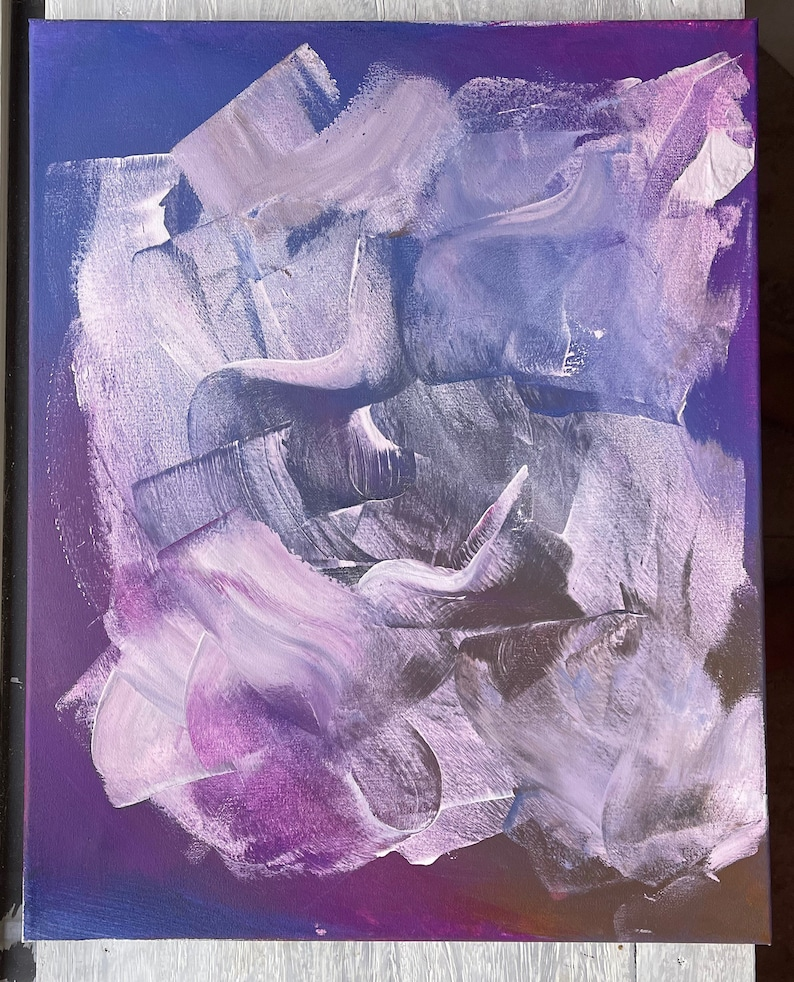 Abstract Wall Art with A Touch of Silver Home D\u00e9cor Gift for Her Gift 16\u201dx20\u201d canvas Wall Decor Acrylic Mix Media blue \u201cRain Drops\u201d