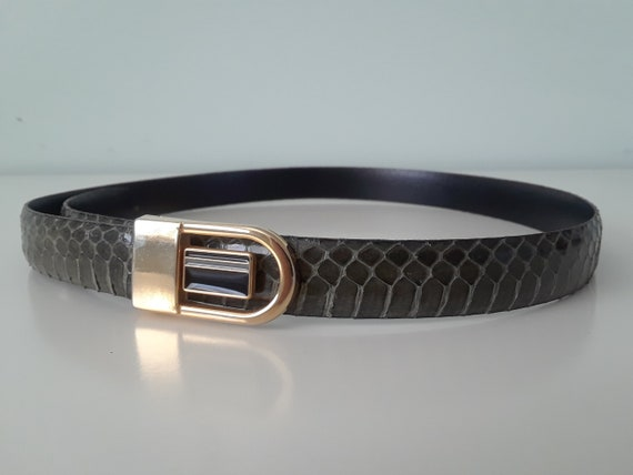 1980s Snake Leather Belt (Grey)