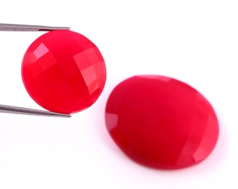 Lot of Stunning 1 Pieces AAA Quality Pink Chelcedony Cushion Cabochon 29x29 mm Loose Gemstone Calibrated