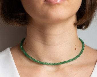 Aventurine Necklace Gemstone Necklace Beaded Gemstone Necklace Chunky Jade Necklace Statement Necklace Wirewrapped Pendant Necklace