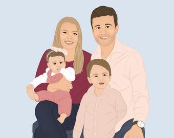 Custom Digital Portrait - Families   Couples   Friends   Self-Portraits - Birthday Gift   Anniversary Gift   Wedding Gift