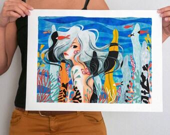 Coral, original illustration - 48 x 36 cm