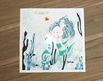 Mermaid, original illustration - 25 x 25 cm