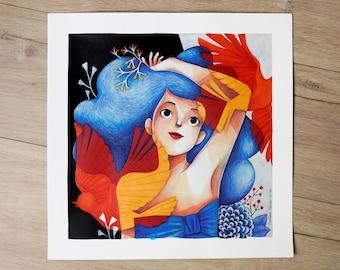 Flight, original illustration - 36 x 36 cm