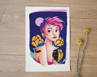 Pink Moon, original illustration - 13.5 x 19.5 cm