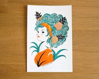 Pineapple, original illustration - 14 x 21 cm