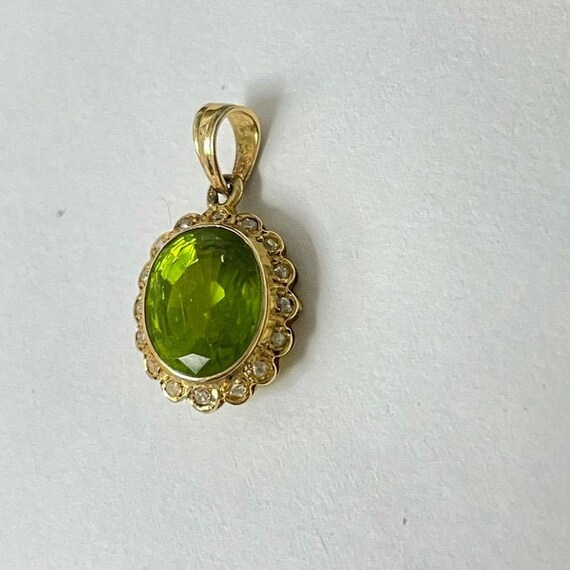 Peridot and Diamond Vintage Pendant - image 2