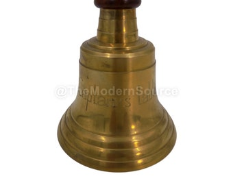 Nautical Brass Captain/'s Table Bell 14 inch Tall Wood Handle 7 inch Diameter