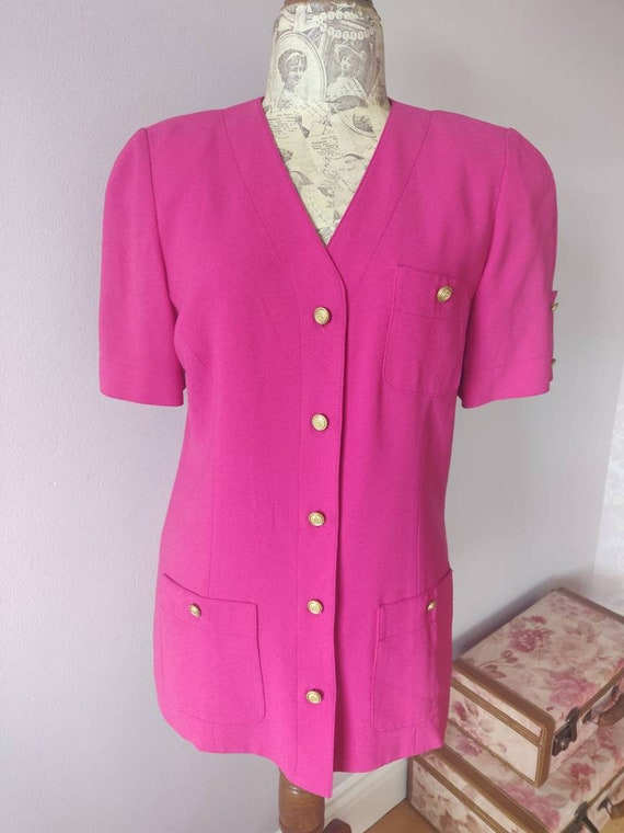 Liz Claiborne HOT PINK short sleeved blazer dress