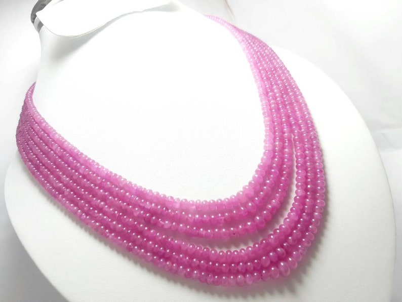 smooth plain beads,16-inchs Natural pink sapphire roundelle beads Gemstone Necklace 7 to 4 mm pink sapphire Necklace
