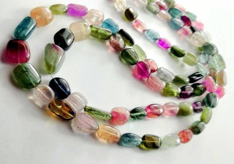 Weight 264 Carats Natural Multi Tourmaline Gemstone tumbled Necklace Tourmaline beads  Necklace  16 Inches 2 Strand