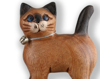 Miniature cat hand carved and handpainted natural wood unique H=10 cm