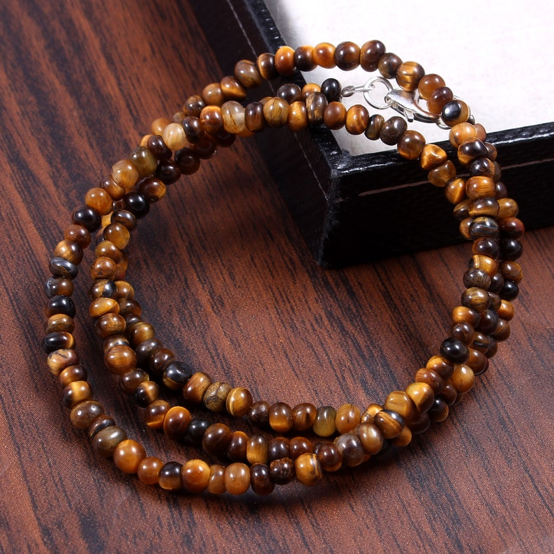 Party Gift Jewelry Natural Tiger Eye gemstone 17.2 Inch Necklace Length Handmade Wedding Necklace 925 Sterling Silver