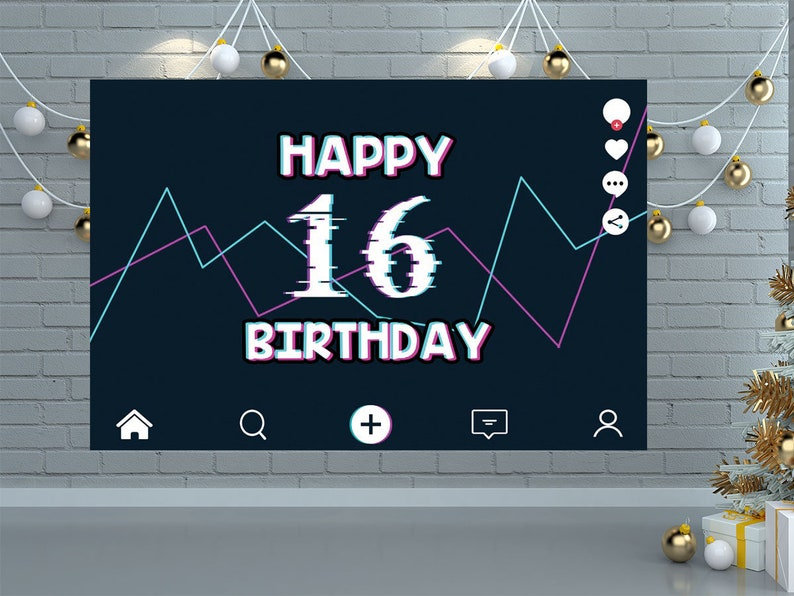Happy 16 Birthday Banner,Custom TikTok Birhday Party Signs and Birthday Backdrop Party Supplies Tik Tok Birthday Party Decorations