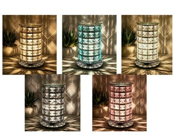 Jewelled Crystal 3D Desire Aroma Electric Tube Touch Lamp Clear Wax Melt Oil Burner GIFT