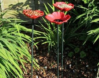 8 x 65cm Modern Garden Decor Wild Bird Bath Poppy Flower Dish Bird Feeder