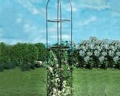 Vintage Retro 1.9m Garden Metal Obelisk Climbing Plant Flower Support Steel Tubular Cage Frame