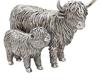Handmade Detailed Silver Highland Cow and Calf Ornament Home or Garden Decoration Figurine Boxed Gift