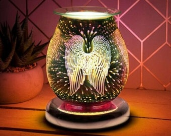 Angel Wing Electric Wax Melt Burner Aroma 3D Lamp Touch Control