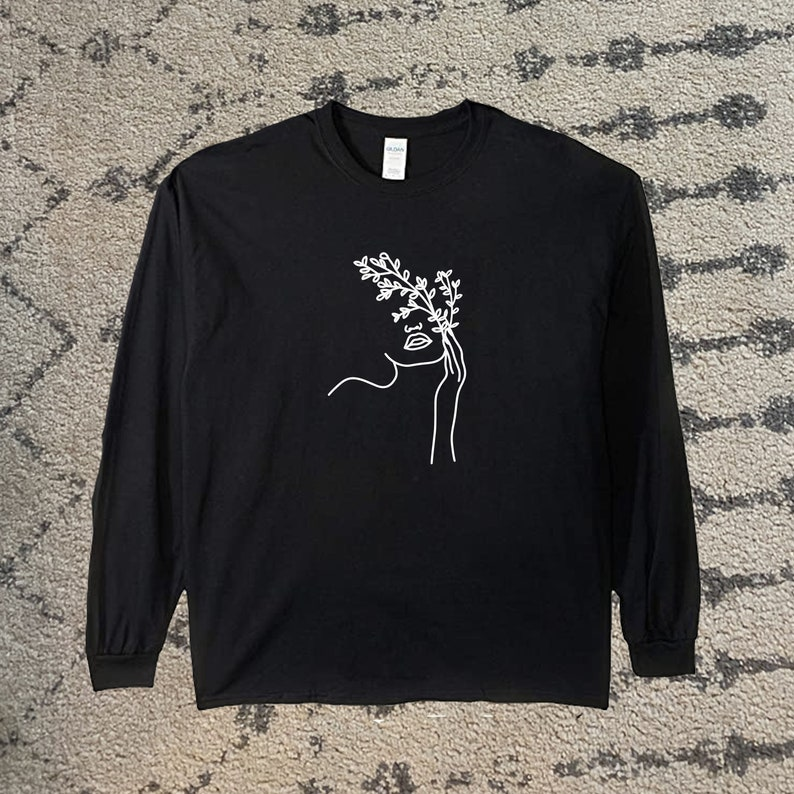 Long Sleeve and Sweatshirt Plant Bleached Tie Dyed Shirt Woman Holding Flowers T-Shirt Plant Logo Plant Shirt