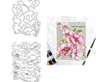 New Layer Metal Cutting Dies Bee and Flower Embossing Frame Card Stamps Set for DIY Scrapbooking