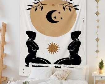Abstract Art, Bohemia Wall Tapestry, Woman Wall Hanging, The Sun and Moon Wall Tapestry for Bedroom Living Room, Surrealism Tapestry