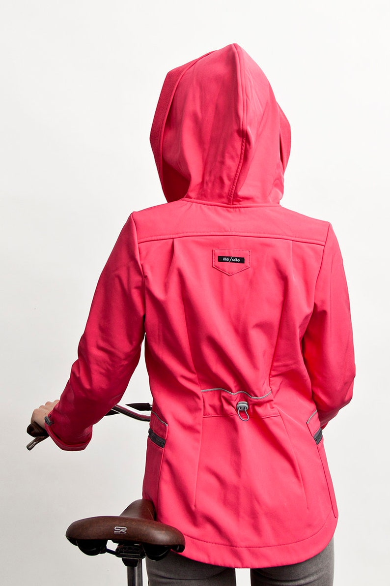 Hooded Softshell Jacket women womens raincoat Pink Softshell Raincoat Reflective jacket Plus Size Raincoat with big hood Cycling jacket