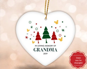 Personalized Disney In Loving Memory Of Mom Ornament, Mickey Memorial Ornament, Loss Of Parents Bauble, Christmas Hanging Tree Decoration