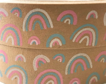 Eco tape * Recyclable * Kraft tape * Rainbow design * Eco friendly * Made in the Uk * Self adhesive