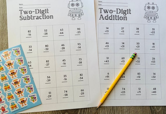 Second Grade Math Worksheets, two digit addition, subtraction, with regrouping, telling time worksheets, with Robot Coloring Pages