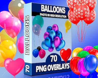 Instant Download Transparent backgrounds Balloon Overlays Set Confetti Frame Border Decor Rainbow Clip Art Diy Photo Editing Baloons
