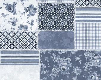 "108"" Blue Patchwork Fabric, Danhui Nai Wideback, Wilmington Prints"