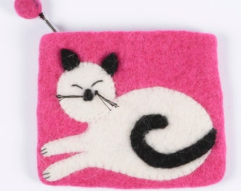 Cat Sitting Pink Handmade Felt Purse