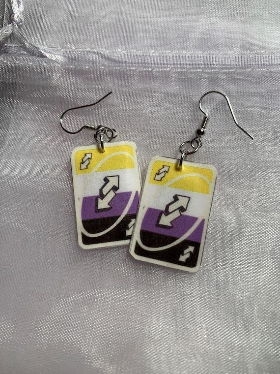 Uno Reverse Card Pansexual Earrings