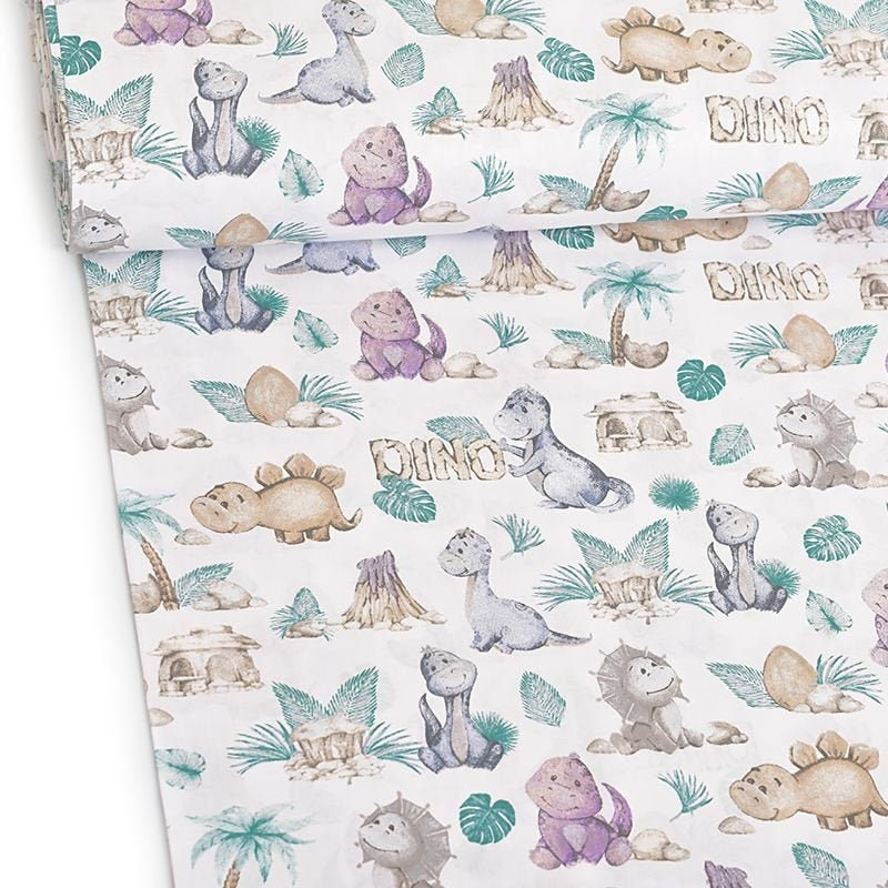 Baby Dinosaurs Fabric by the yard, dinosaur print on cotton, fabric for face mask