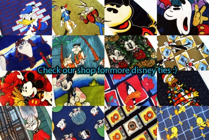 Mickey Mouse tie Disney print necktie cartoon vintage clothing