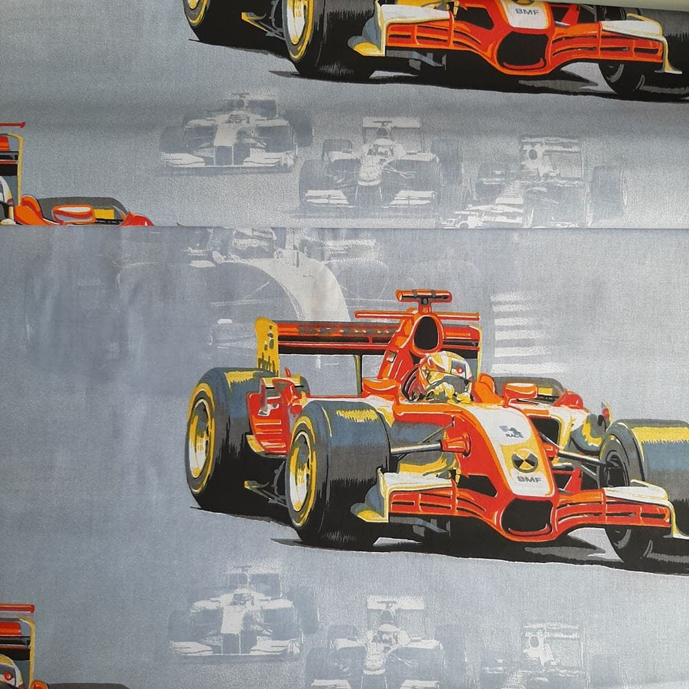 Formula 1 Fabric by the yard, Grand Prix Racing Cars, F1 Cotton Quilting Fabric, formula one print
