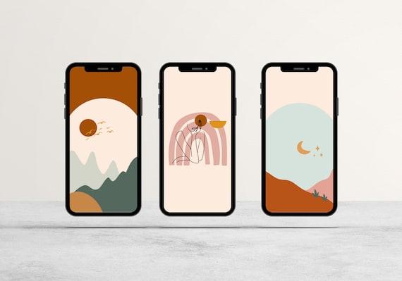 Set Of 3 Boho Iphone Wallpaper Minimalist Iphone Etsy