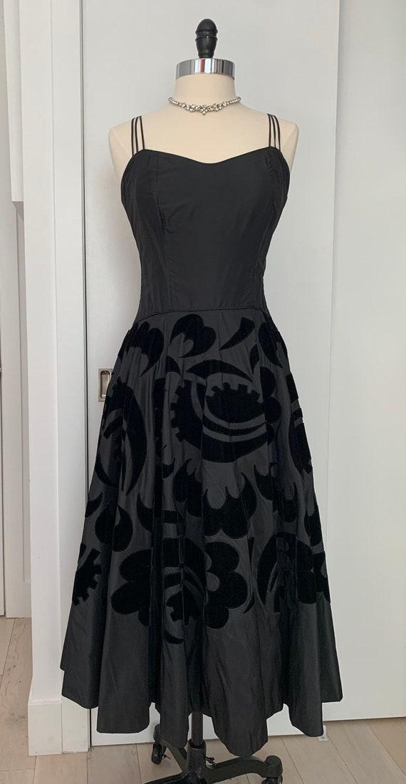 Vintage 50s Ceil Chapman Dress, 1950s Velvet and T