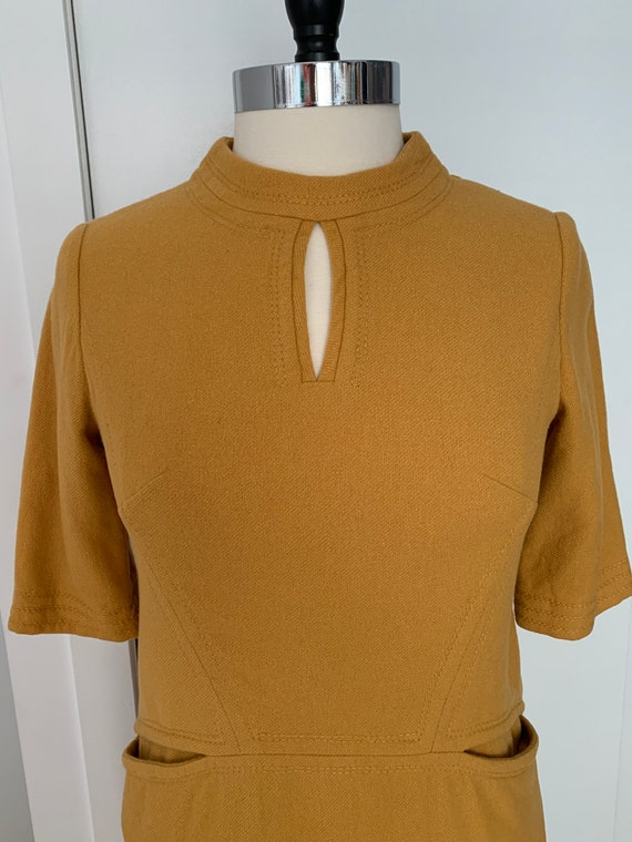 Vintage 60s Mustard Wool Dress with Pockets