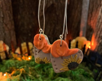 Fall Heart Earrings Pumpkin and Sunflower Dangle