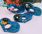 Spooky Month Inspired Thumb Page Resin Holder Blue Glitter