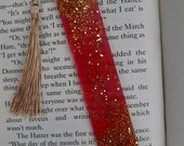 Red/ Gold Glitter Resin Bookmarks