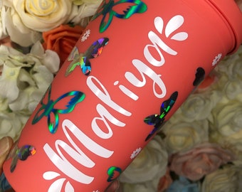 Personalised butterfly & flowers matte reusable tumbler, Starbucks cup , Strata, personalised gift, bridesmaid gift, gifts for her, birthday